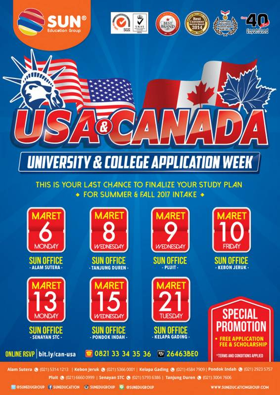 USA & Canada Application Week @ SUN Education Senayan STC | DKI Jakarta | Indonesia
