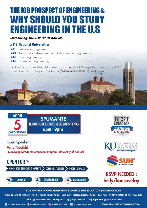 Kansas University Seminar: Job Prospects of Engineering @ Spumante Menteng | DKI Jakarta | Indonesia