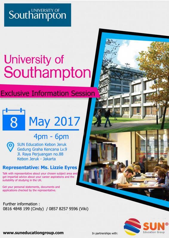 University of Southampton Info Session @ SUN Education Kebon Jeruk | Daerah Khusus Ibukota Jakarta | Indonesia
