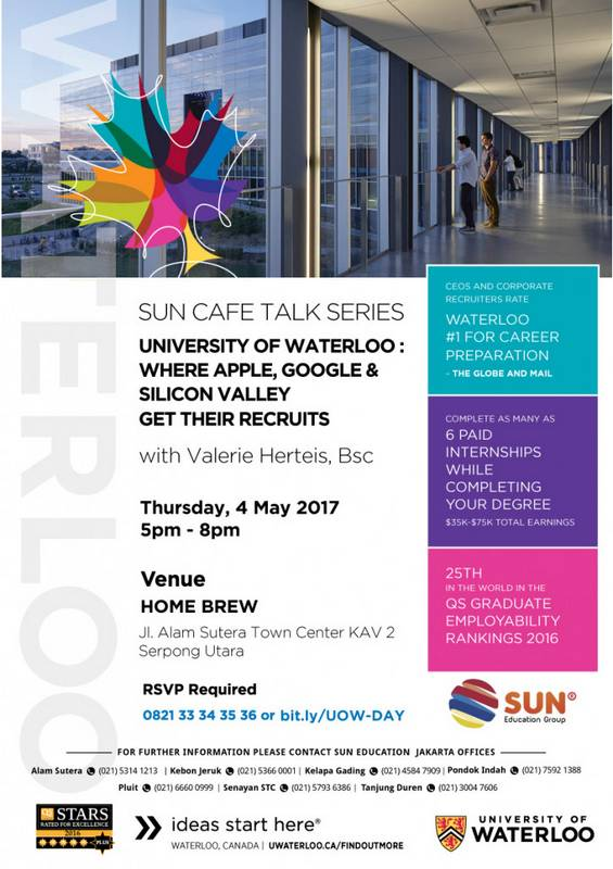 """SUN Café Talk Series 'University of Waterloo: Where Apple, Google and Silicon Valley Get Their Recruits"""" @ Home Brew 