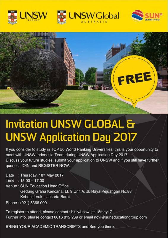 [:in]UNSW Global & UNSW Application Day[:] @ Gedung Graha Kencana Level 9 Unit A | Daerah Khusus Ibukota Jakarta | Indonesia