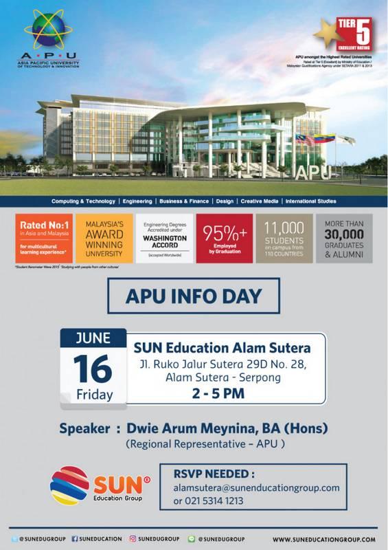 [:in]APU Info Day[:] @ SUN Education - Alam Sutera | Banten | Indonesia