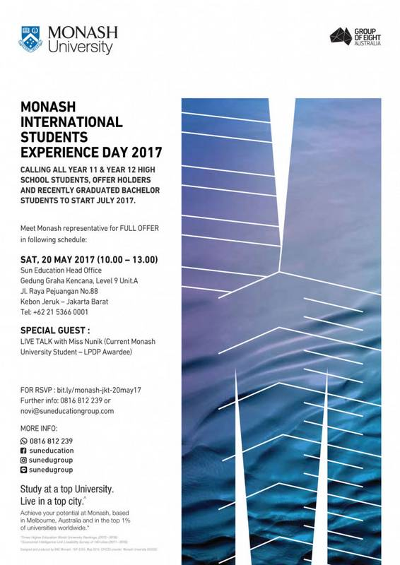 Monash International Student Experience Day @ SUN Education - Kebon Jeruk | Daerah Khusus Ibukota Jakarta | Indonesia