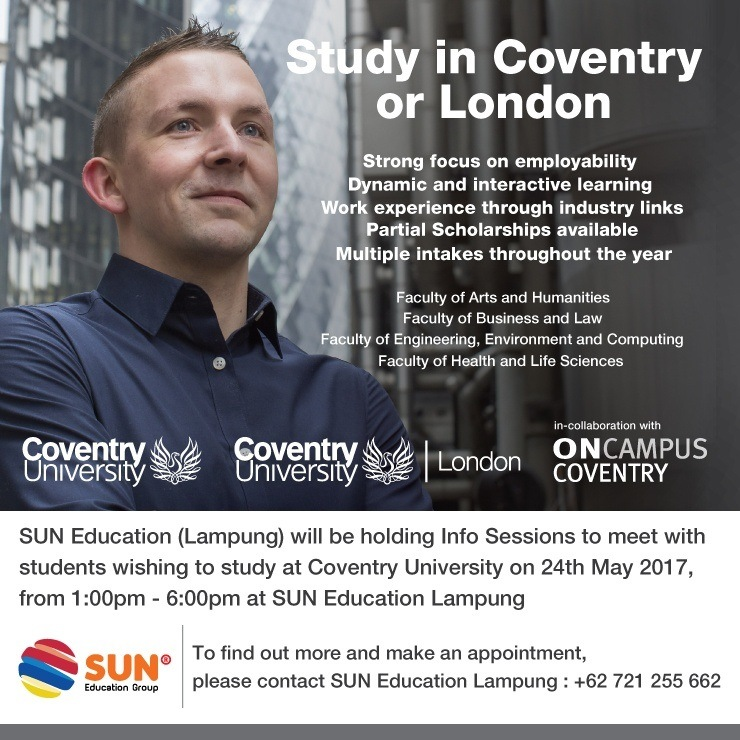 [:in]Coventry University Info Session[:] @ SUN Education - Lampung | Lampung | Indonesia