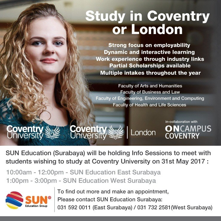 [:in]Coventry University Info Session[:] @ SUN Education - Surabaya (Ruko Golden Palace C-7) | Jawa Timur | Indonesia