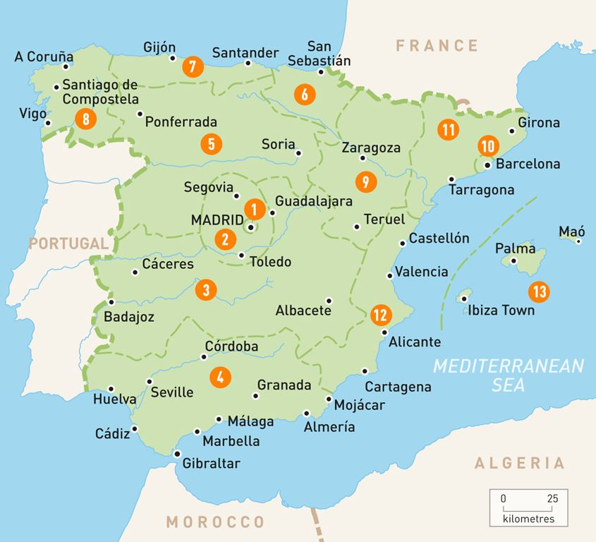 Area Map of Spain